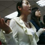 Chinese Christians during a worship session