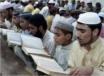Muslims at a madrasa