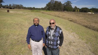Reverend Thomas Koshy and George Paniker say the $11 million church in Horsley Park would be the state's largest Indian church and will attract people from all regions. Photo: Daily Telegraph